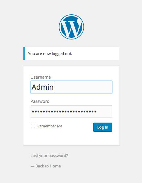 Wordpress admin screen