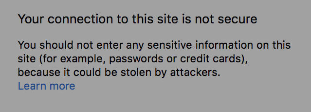 Example of insecure msg in Chrome
