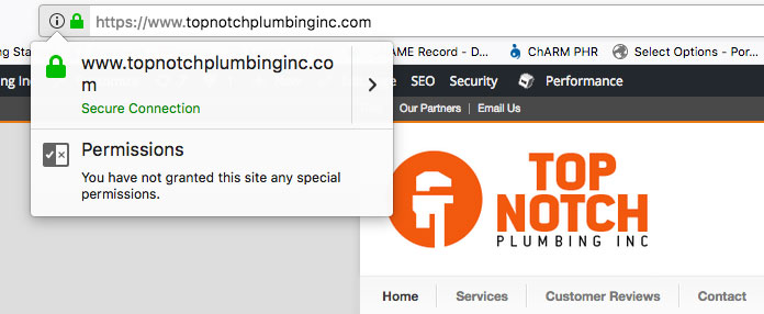 Example of secure icon in browser on firefox