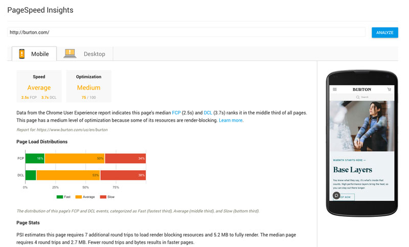 Google Insights page speed test