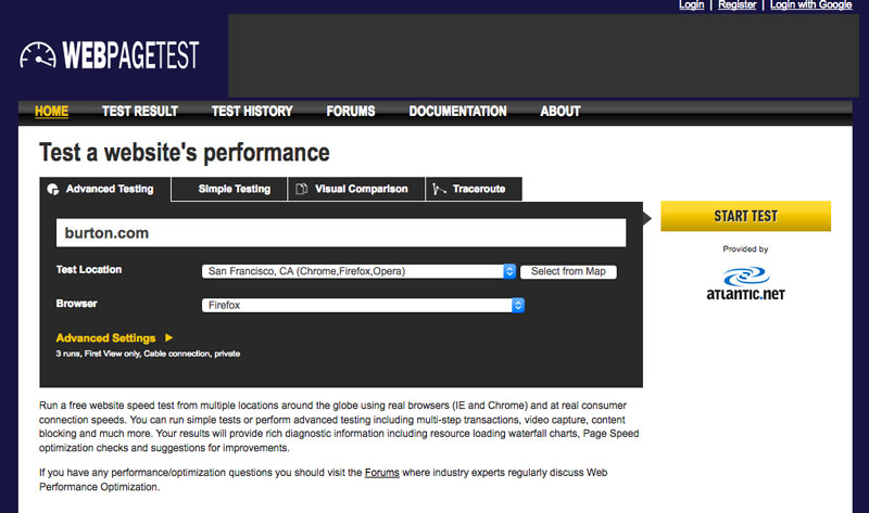 webpagetest.org page speed test