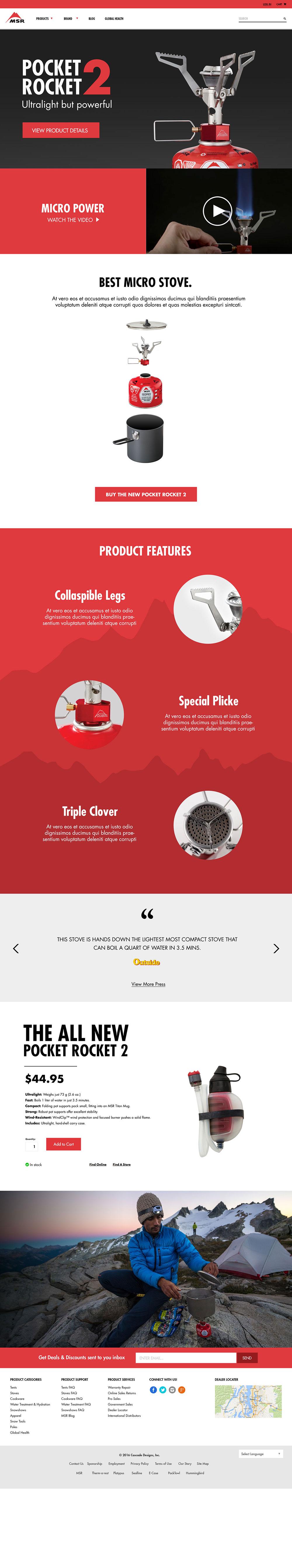MSR Featured Product Page Web Design | Pure Design Group Seattle Web Designer