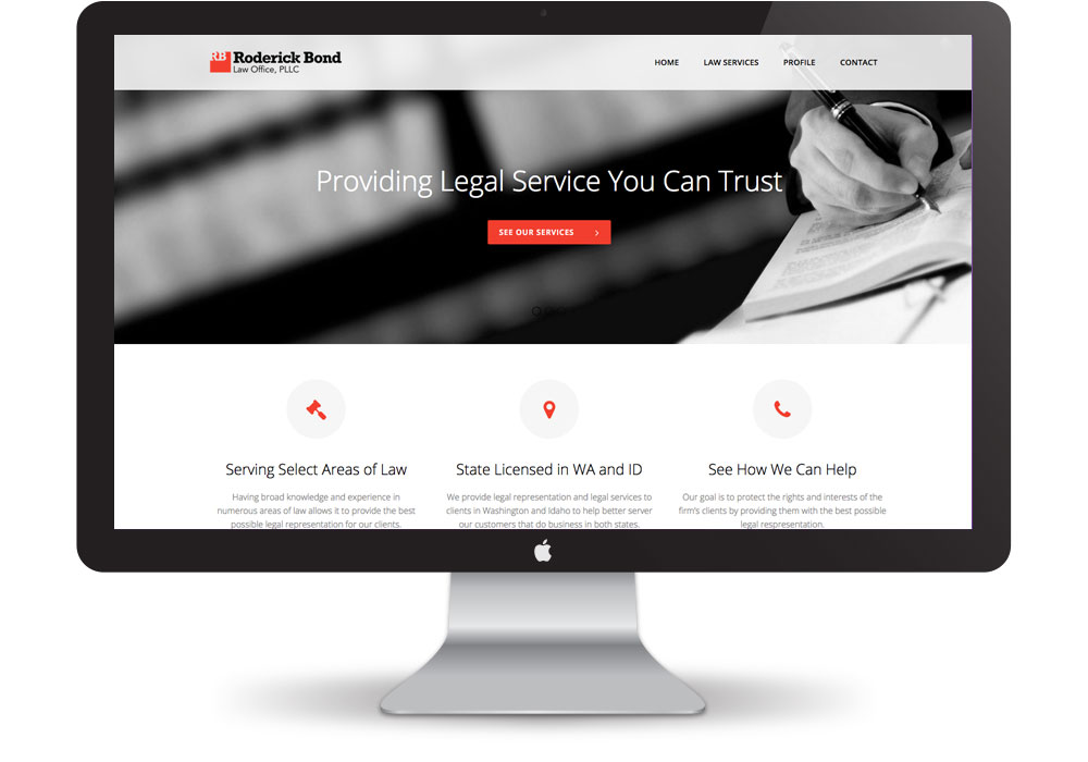 Roderick Bond Law Firm Web Design | Pure Design Group Top Wordpress Agency